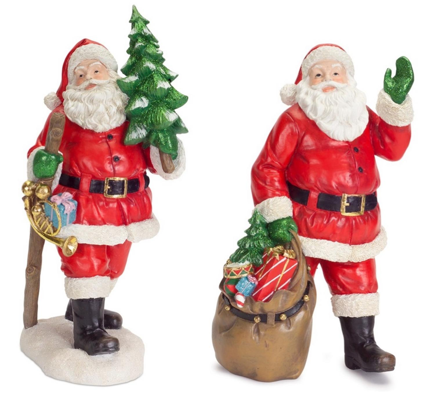 Set Of 2 Old Fashioned Walking Santa Claus Table Top Christmas Decorations 14 5