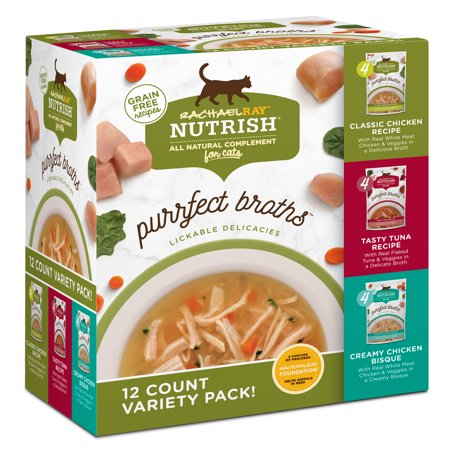 (Rachael Ray Nutrish Purrfect Broths Grain Free Variety Pack, All Natural Complement for Cats, 1.4 oz pouches, 12-count)