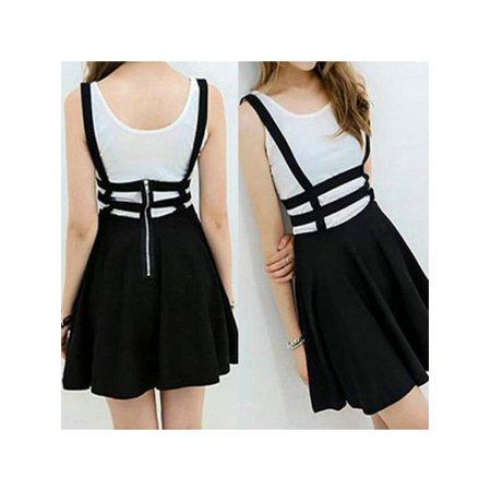 Sleeveless Skirt Suit (Lavaport Women Retro Suspender Skirt High Waist Mini Skirt)