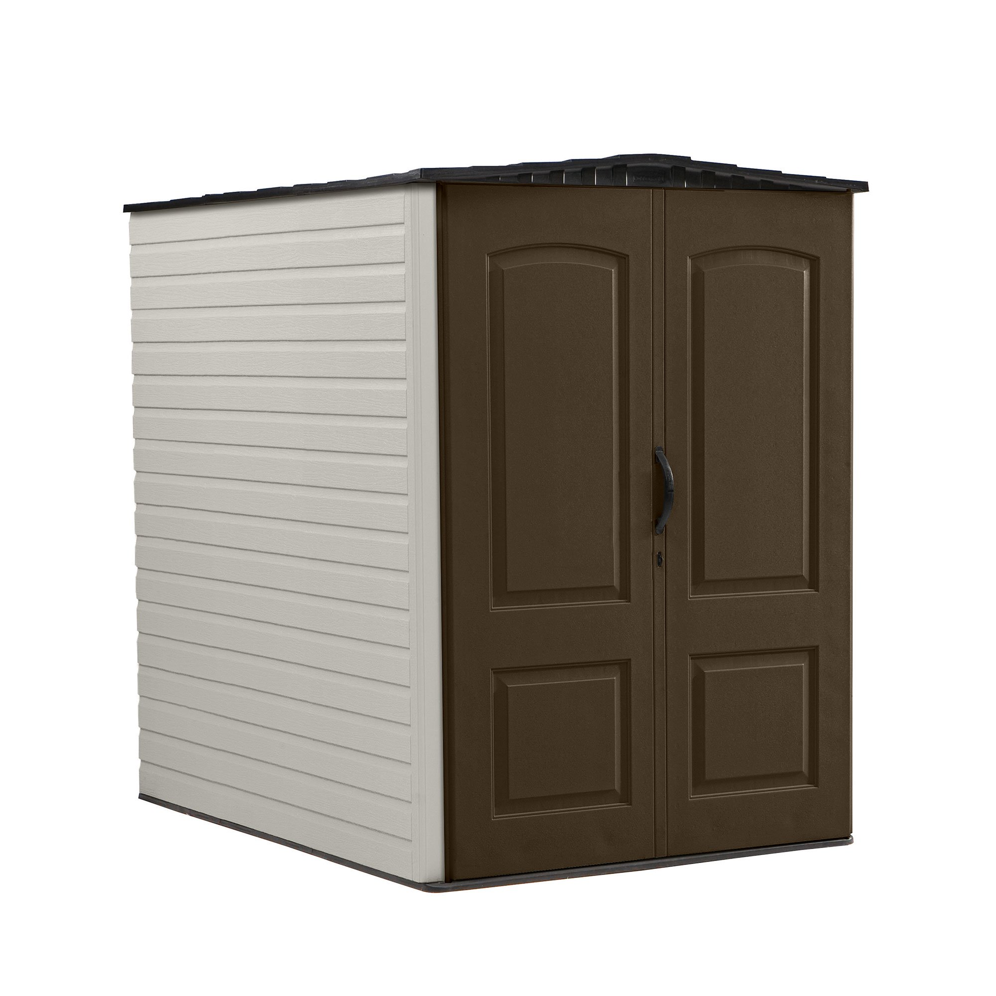 Rubbermaid Large Outdoor Backyard Gardening & Tools Vertical Storage Shed, Brown