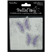 Ruby Rock-It Bling Self-Adhesive Rhinestone, Butterflies, Purple, 2 Per Package Multi-Colored