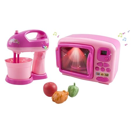 Toy Microwave and Mixing Blender Children\'s Kitchen Pretend Play Playset  Battery Operated Appliance Set With Food Pieces Perfect For Early Learning  ...