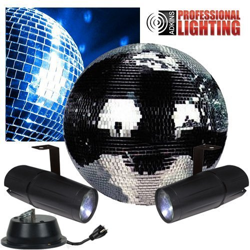 "12"" Disco Mirror Ball Complete Party Kit with 2 LED Pinspots and Motor Dj Lighting by Adkins Pro Audio & Lighting"