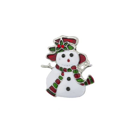 Lux Accessories Holiday Christmas Xmas White Red Green Enamel Snowman Brooch Pin