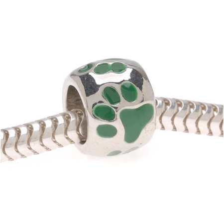 Silver Tone European Style Large Hole Bead With Green Enamel Paw Prints