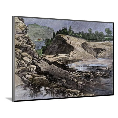 Empty Reservoir Behind the Broken South Fork Dam That Caused the Johnstown Flood in Pennsylvania Wood Mounted Print Wall - South Fork Dam