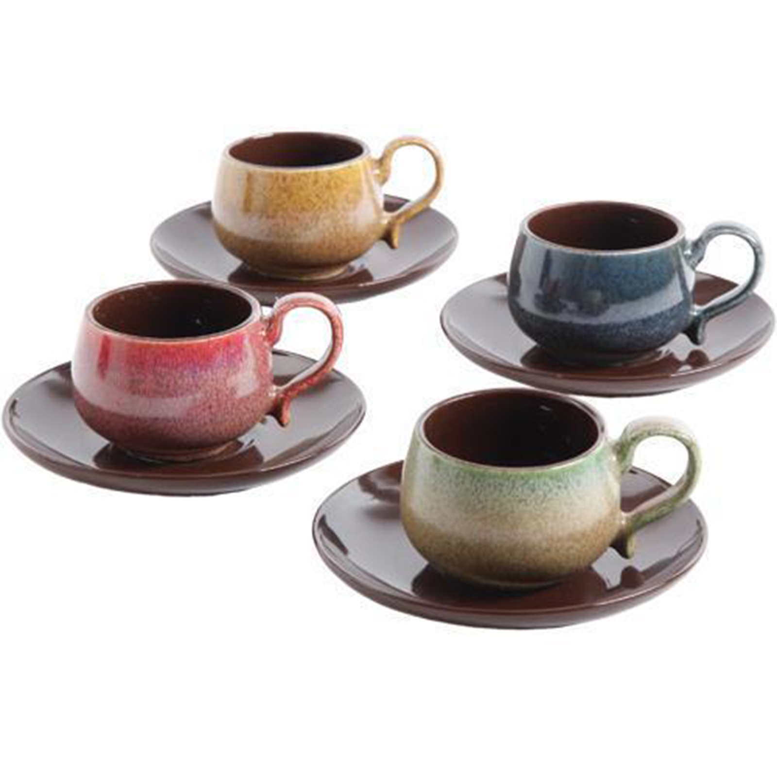 8 Piece Espresso Cup And Saucer Set For 4 Multicolor ...