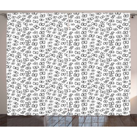 Money Curtains 2 Panels Set  Sketch Style Monochrome Raining Dollar Bills Cash Money Flying Bank Notes Design  Window Drapes For Living Room Bedroom  108W X 108L Inches  Black White  By Ambesonne