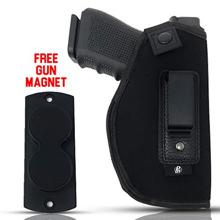 Combo IWB Gun Holster + Free Magnet - by PH | Concealed Carry Soft Material | Soft Interior | Fits Glock 17 19 23 25 32 38 | Sig Sauer P320 | Springfield XDS 4