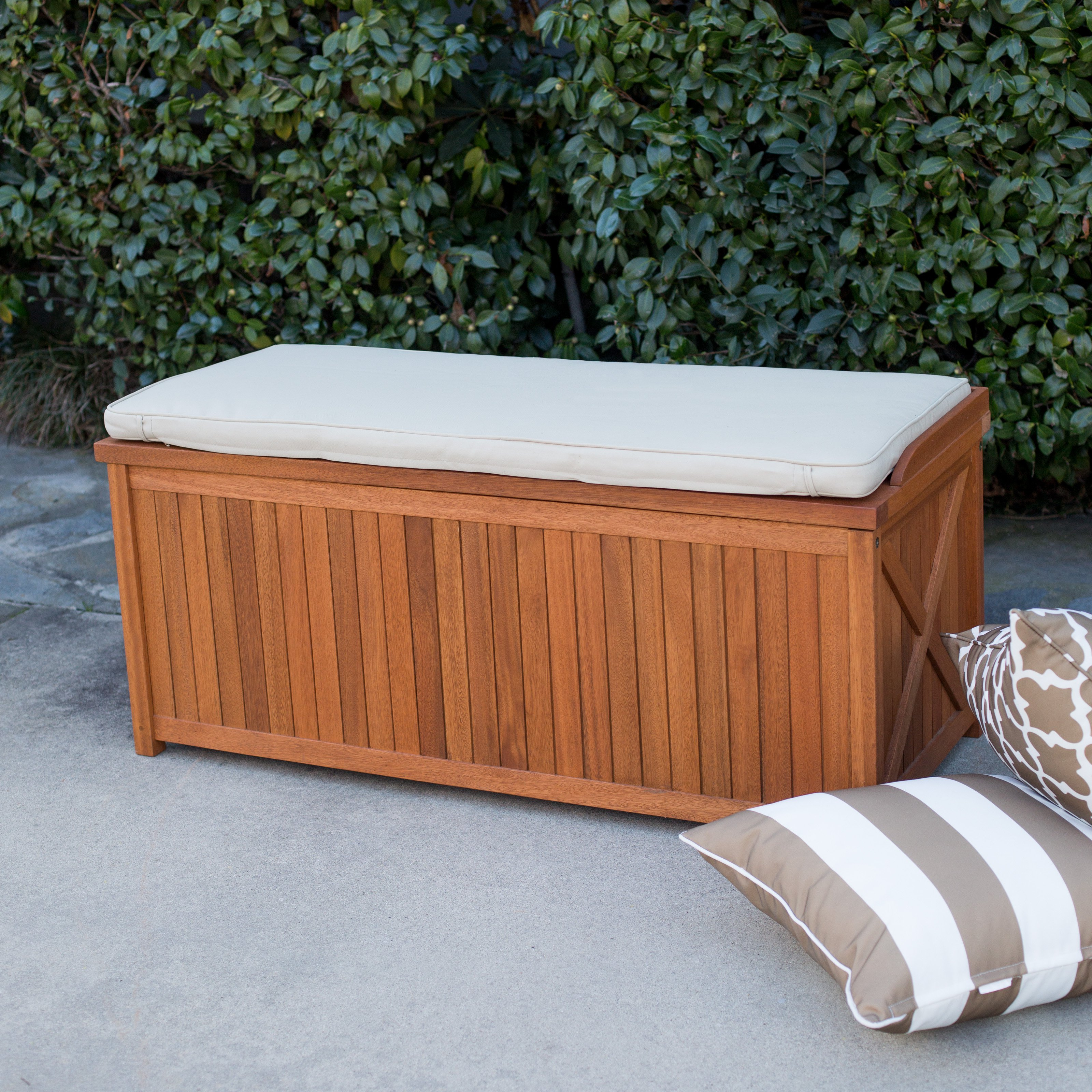 Belham Living Brighton 48 in. Outdoor Storage Deck Box with Cushion Natural by