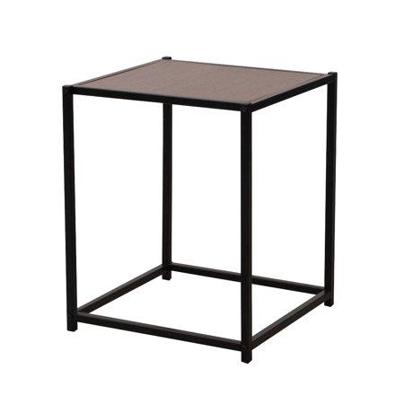 Ktaxon End Table Rustic Iron Frame Wood Grain Veneer Surface Side Table End Table Sapele Color ()