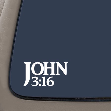 John 3:16 Bible Verse Decal Sticker | 7.5-Inches By 4-Inches | Religious Motivational Inspirational Educational | White Vinyl