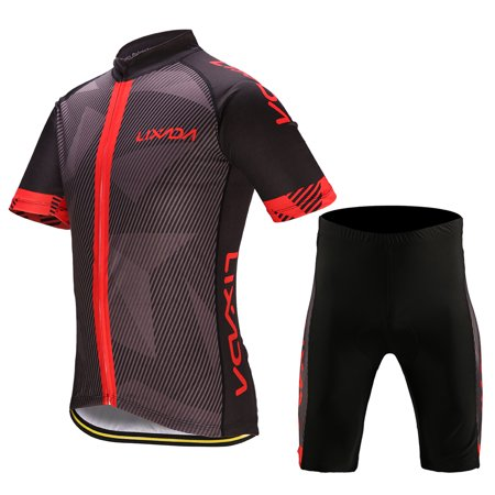 Bike Riding Pants (Lixada Men's Cycling Clothes Set Quick Dry Short Sleeve Bicycle Jersey Shirt Tops 3D Cushion Padded Riding Shorts Tights Pants )
