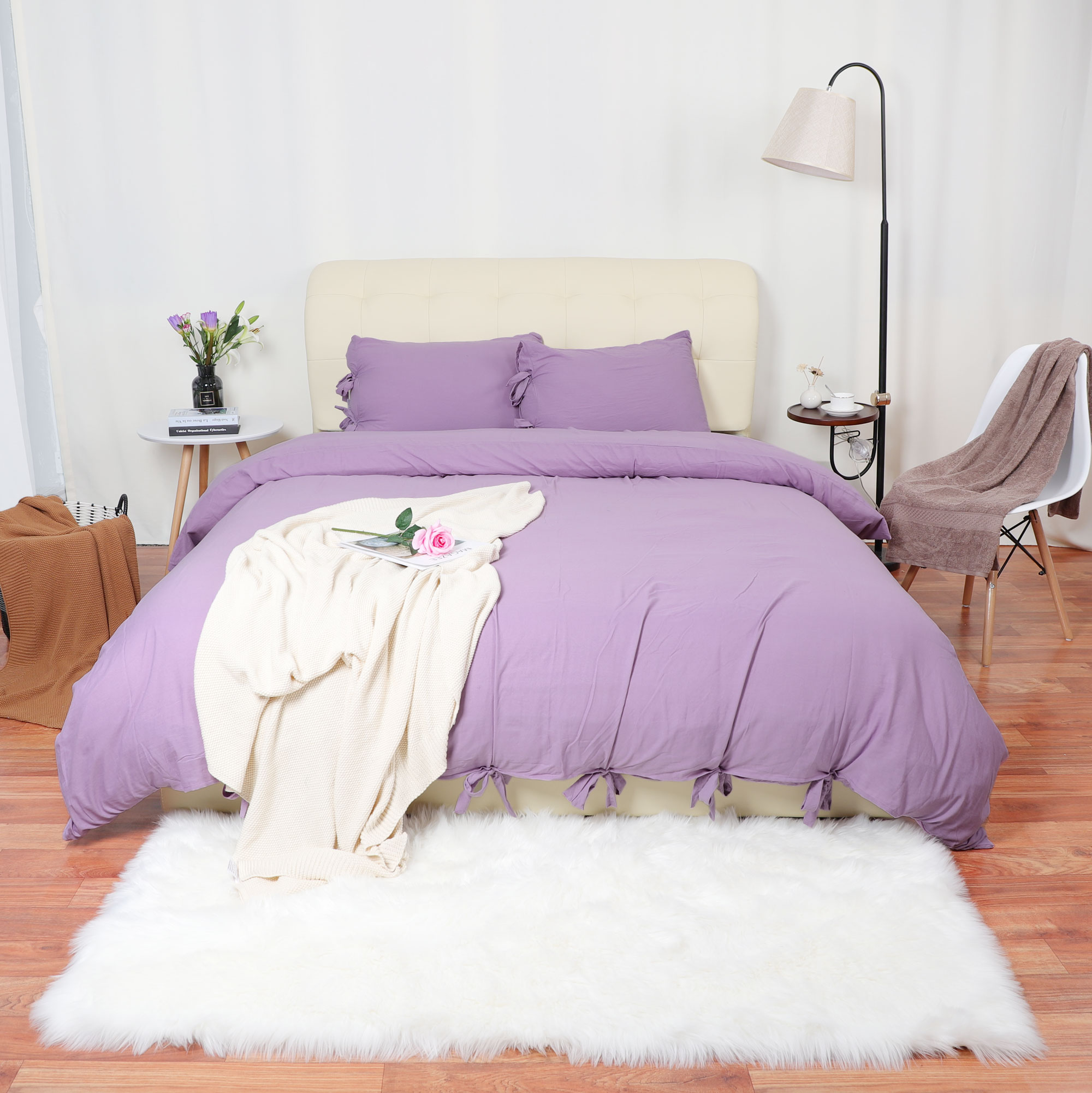 Duvet Cover And Shams Egyptian Comfort 1800 Count Bedding Set Light Purple Queen - image 6 of 8