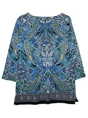 a1ca20e1dad Product Image Rafaella Womens Size Small 3/4 Sleeve Tunic Blouse Top,  Navy/Blue Paisley