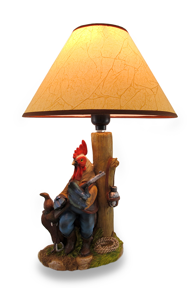 Click here to buy Country Cowboy Rooster Sitting On Saddle Sculptural Lamp by Mayrich Company.