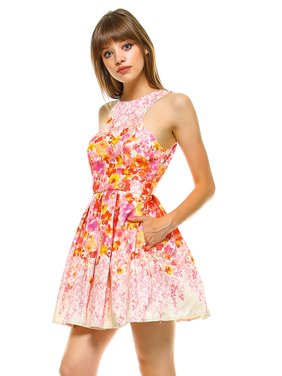d2472caa7b86 Product Image Teeze Me | Sleeveless Halter Glitter Floral Pleated Party  Dress | Champagne/Coral