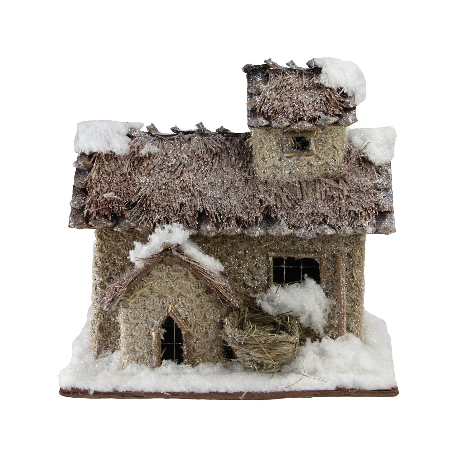925 rustic two story snowy cabin christmas decoration