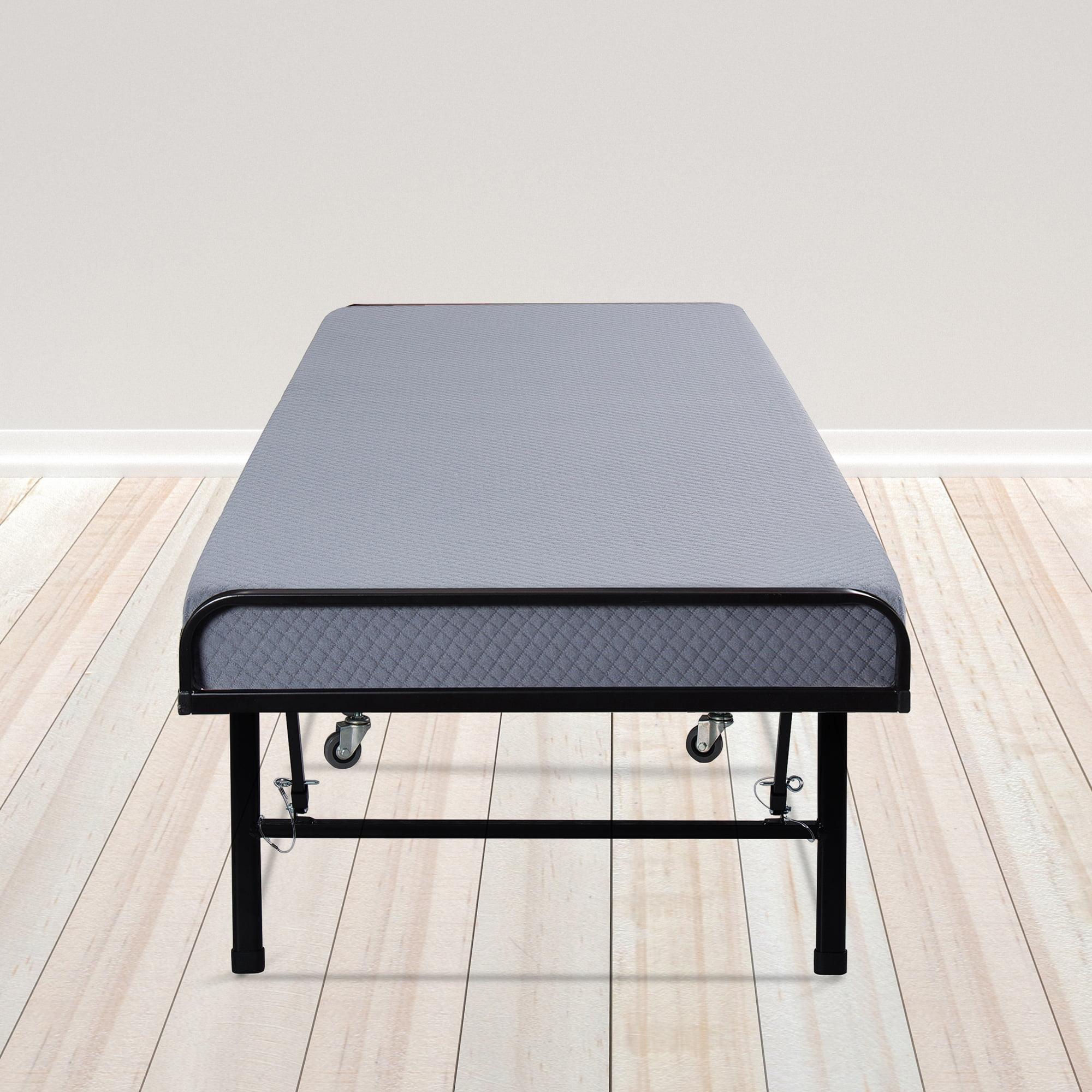 GranRest Innovative Portable Metal Folding Guest Bed with Gel Memory Foam Mattress
