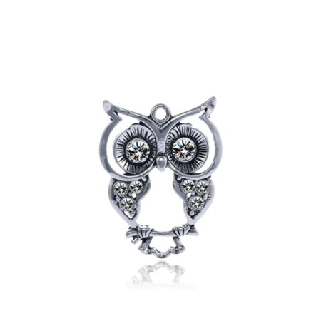Eyed Owl Pendant - Large Eyes Owl Antique Silver-Plated Pendant With Clear Preciosa Czech Crystal 35.7x29mm pack of 2pcs (2-Pack Value Bundle), SAVE $1
