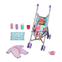 Kid Connection 10-Piece Baby Doll Stroller Play Set, African American