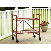 Cosco Outdoor Living INTELLIFIT Outdoor Or Indoor Folding Serving Cart With 2 Slatted Shelves, Ruby Red