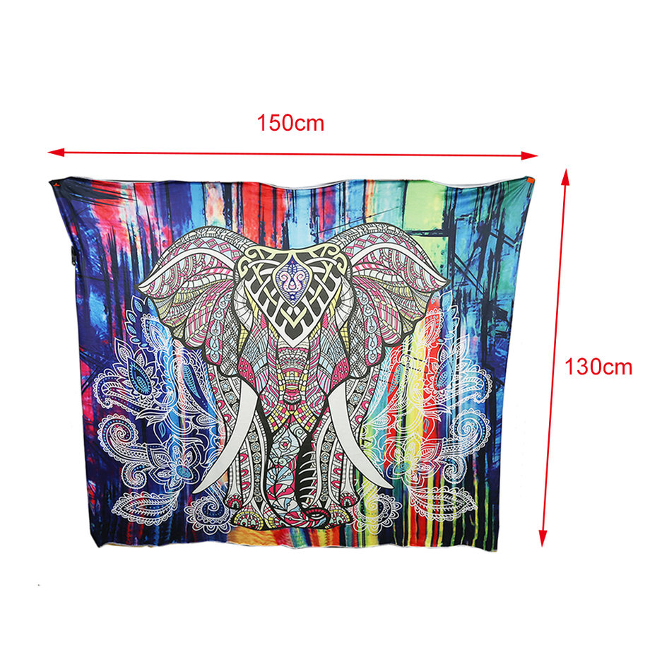 Creative Elephant Tapestry Colored Printed Decoration Tapestry 130cmx150cm Wall Carpet for Home Decoration by
