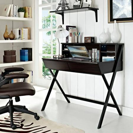 Modway Trove Office Desk With Hutch Storage In Dark Walnut