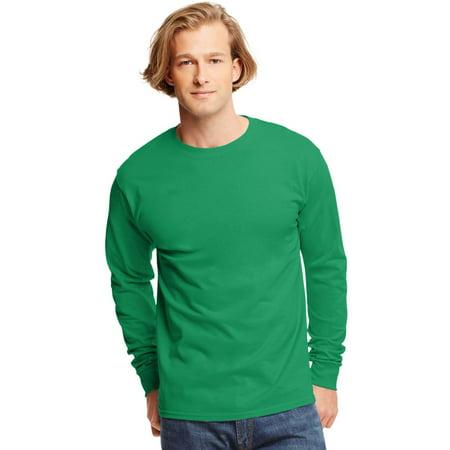 Hanes TAGLESS Men`s Long-Sleeve T-Shirt - Best-Seller, 5586, 3XL, Kelly Green