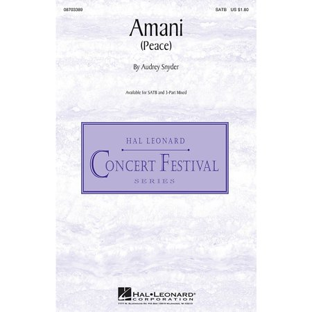 Hal Leonard Amani (Peace) SATB composed by Audrey (Amani Glasses)