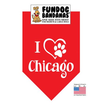 Fun Dog Bandana - I Love Chicago - One Size Fits Most for Med to Lg Dogs, Red pet scarf