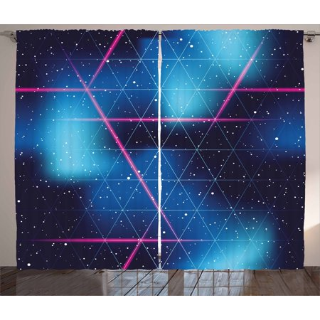 Navy and Blush Curtains 2 Panels Set, Eighties Inspired Retrofuturistic Triangles Virtual Reality Sci Fi, Window Drapes for Living Room Bedroom, 108W X 90L Inches, Indigo Blue Hot Pink, by