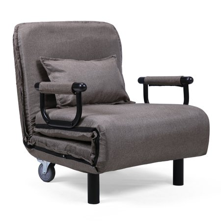 Jaxpety Fabric Folding Chaise Lounge Sofa Chair Couch with Armrest and Pillow Gray ()