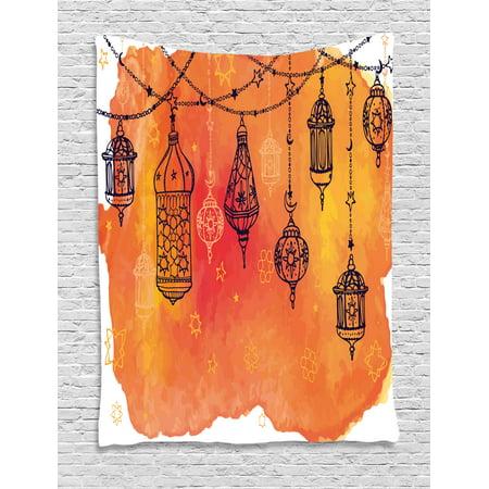 Traditional Tapestry, Lanterns Garland Arabesque Middle Eastern Theme Oriental Artwork, Wall Hanging for Bedroom Living Room Dorm Decor, Orange Vermilion Black, by - Oriental Artwork