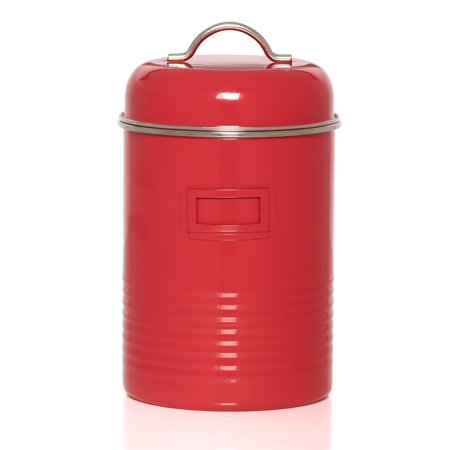 Kamenstein Large Red Tin Storage Canister With Card Holder