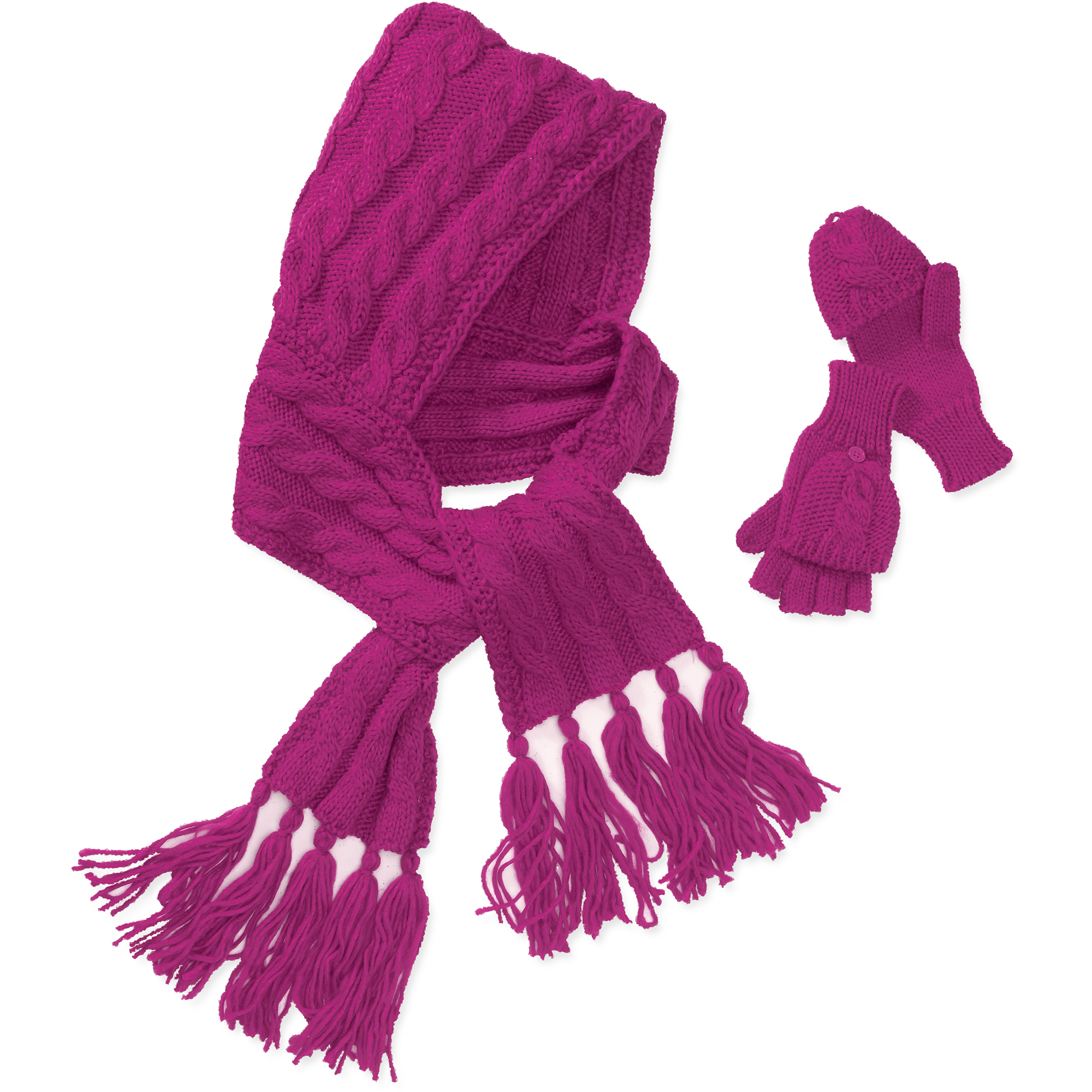 Women's Chunky Cable Knit Hooded Scarf A