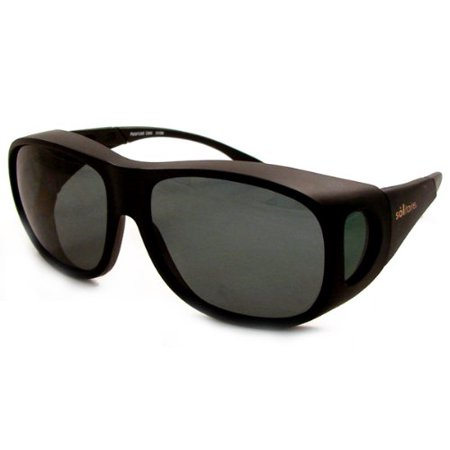 Solar Shields Fits-Over Sunglasses LARGE Frame: Matte Black Lens: Grey/Green Polarized