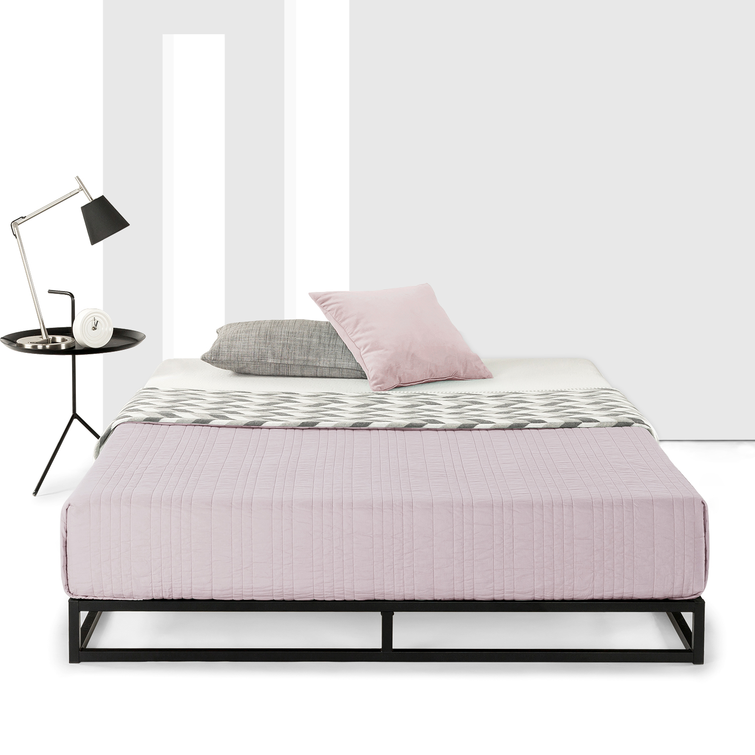 Best Price Mattress 6 Inch Platform Metal Bed Frame with Classic Wooden Slat Support