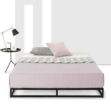 Best Price Mattress 6 Inch Platform Metal Bed Frame with Classic Wooden Slat (Best Mattress For Slatted Bed Base)