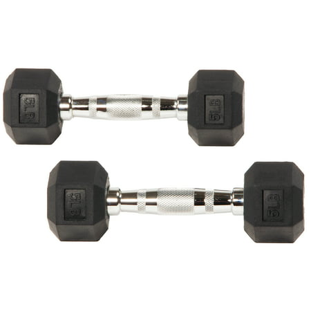 BalanceFrom Rubber Encased Hex Dumbbells, 5 lbs Pair