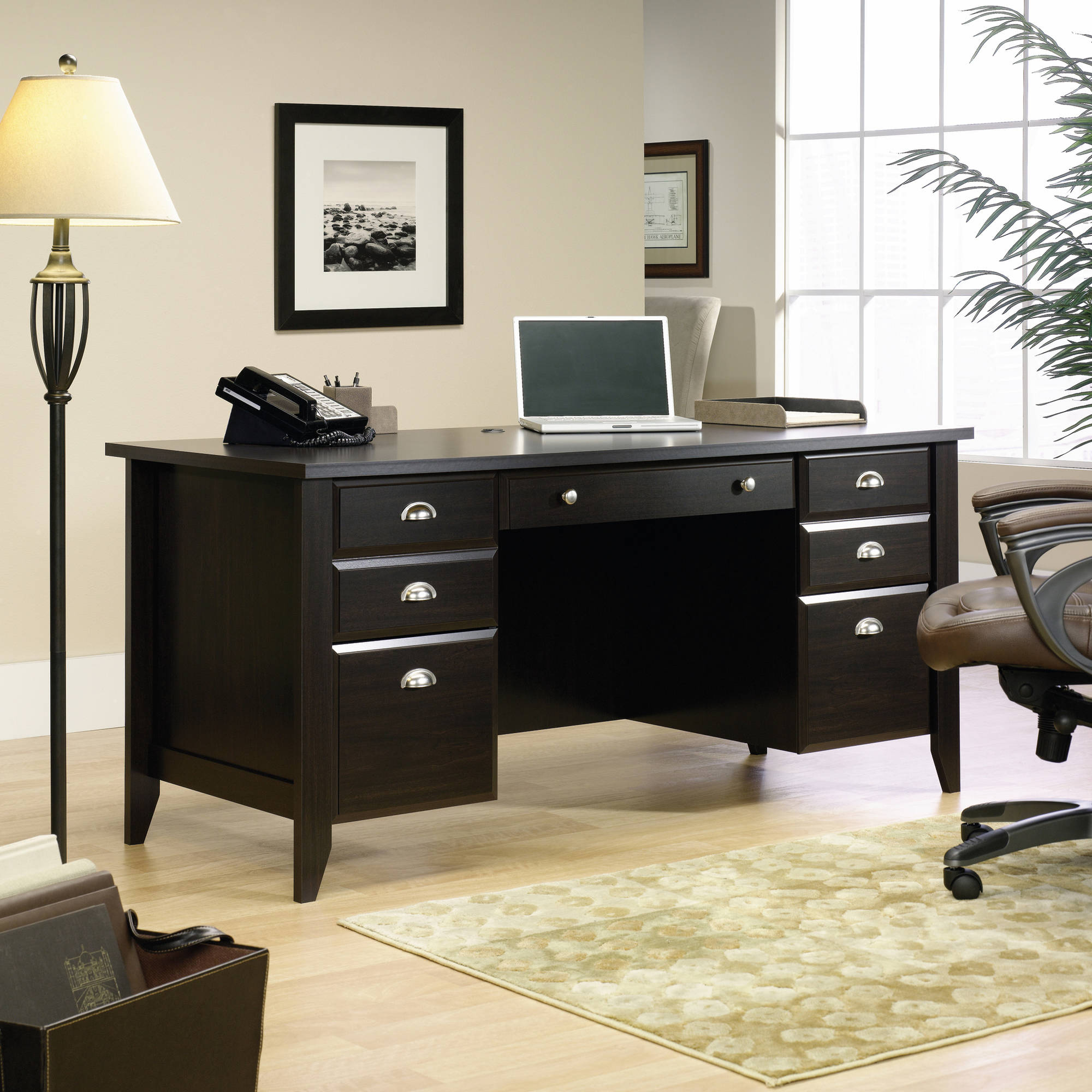 Sauder Shoal Creek Executive Desk Multiple Finishes Walmart Com