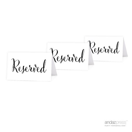 Reserved Formal Black & White Table Tent Place Cards, 20-Pack (Black Place Cards)