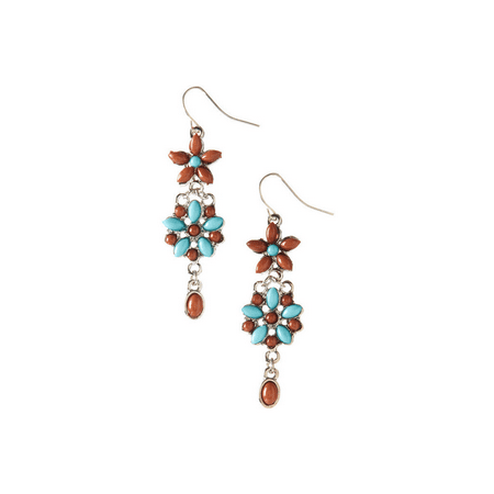 Lux Accessories Turquoise & Brown Beaded Floral Drop Earrings