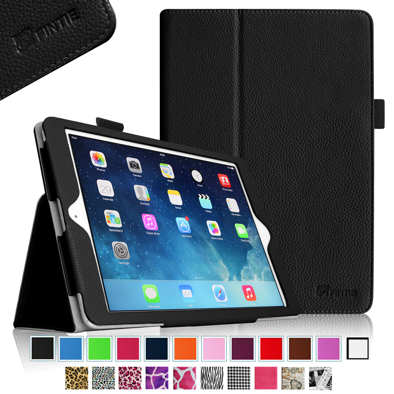 Fintie iPad Air (2013) Case - Premium PU Leather Folio Smart Cover with Auto Sleep / Wake Feature, Black