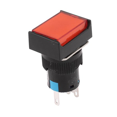 Dc Button - 220V 3A DC 30V 5A Red Square Cap Latching Push Button Switch with Lamp