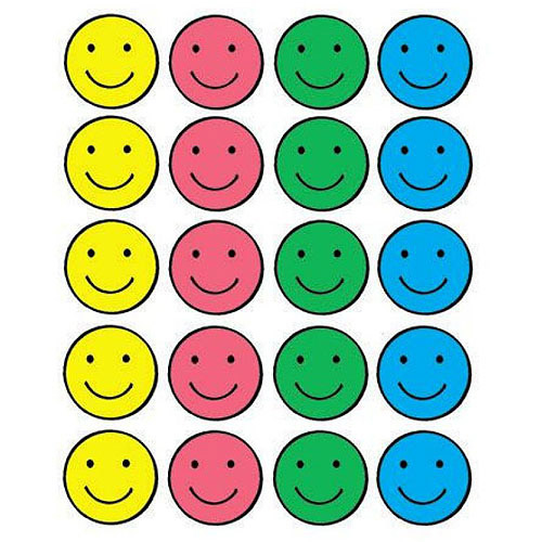 "School Smart Self-Stick Smiles Stickers, 1"", Pack of 1560"