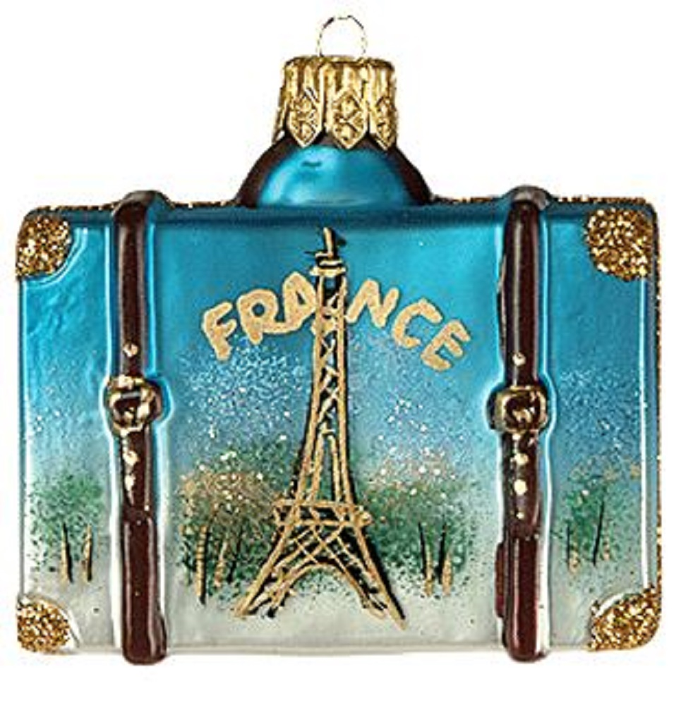 Miniature France Travel Suitcase Polish Glass Christmas Tree Ornament Mini