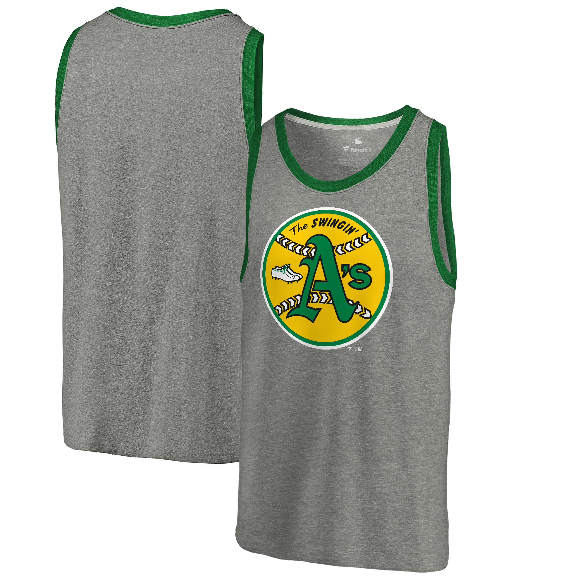 Oakland Athletics Fanatics Branded Cooperstown Collection Huntington Tri-Blend Tank Top - Heathered Gray