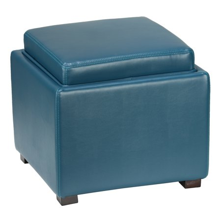 Cortesi Home Mavi Storage Tray Ottoman in Bonded Leather, Deep Turquoise Blue ()
