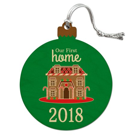 Our First Home 2018 Gingerbread House Wood Christmas Tree Holiday (Gingerbread House Holiday Ornament)